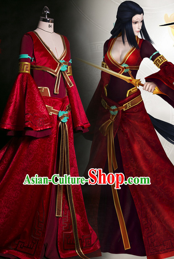 Chinese Ancient Guzhuang Swordswomen Cosplay Sexy Costumes Complete Set for Women