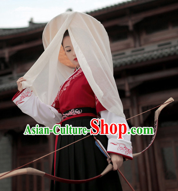 Chinese Ancient Knight Clothing and Hat Complete Set for Women and Girls