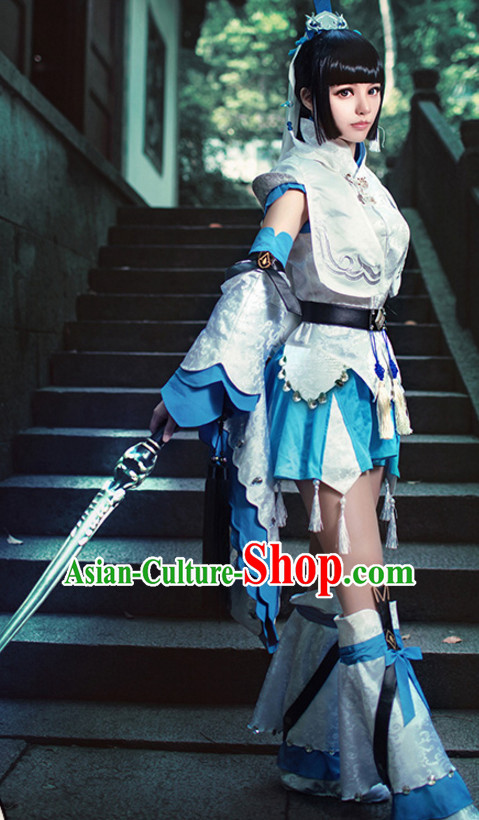 Ancient Chinese Swordsman Style Cosplay Costumes Clothes Complete Set for Women