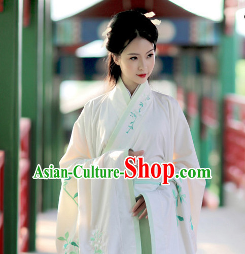 Chinese Ancient Hanfu Clothing and Hair Jewelry Complete Set for Women and Girls