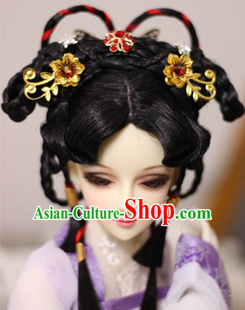 Ancient Chinese Style Black Hair Wigs and Accessories for Women