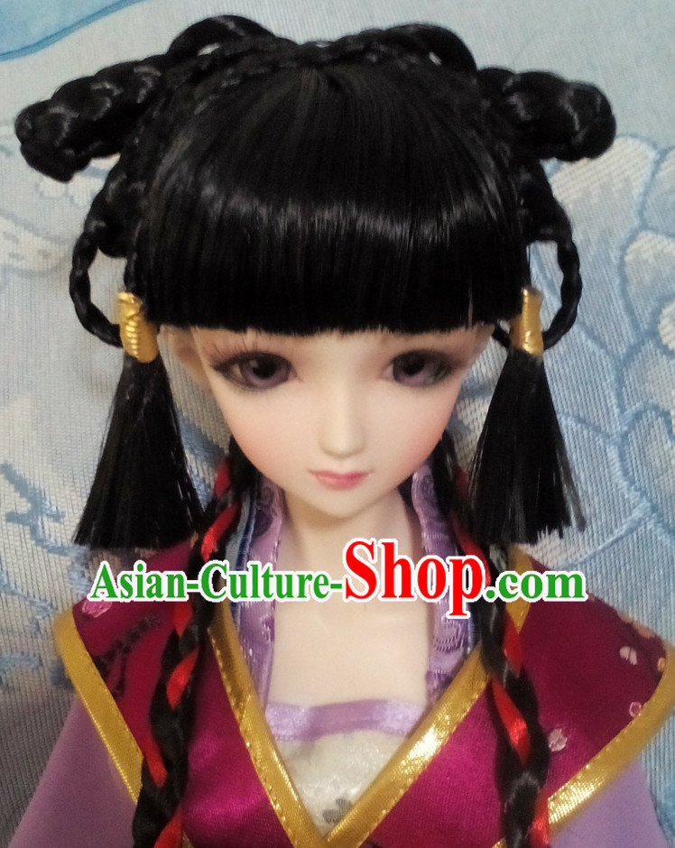 Ancient Chinese Lady Black Long Women Wigs