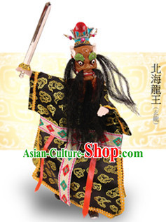 Traditional Chinese Handmade Dragon King of North Ocean Hand Puppets Hand Marionette Puppet