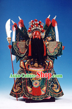 Traditional Chinese Handmade and Embroidered Superhero General Guan Gong Glove Puppet String Puppet Hand Puppets Hand Marionette Puppet Arts Collectibles
