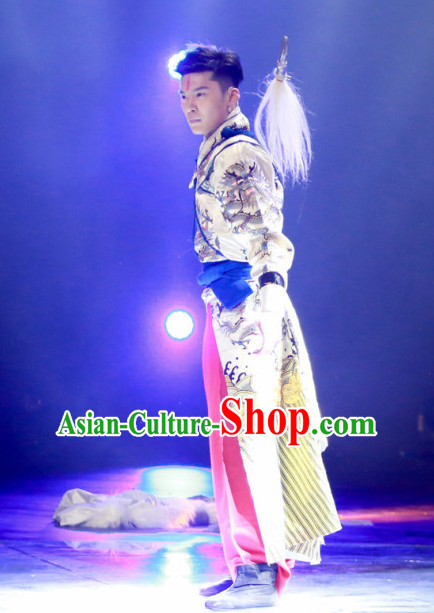 Chinese Opera Wu Sheng Costumes and Headdress Complete Set for Men