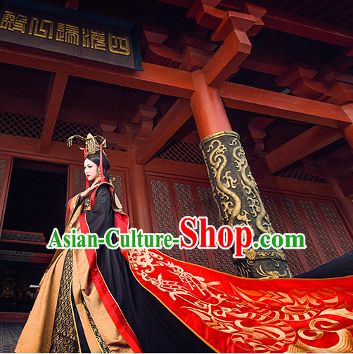 Ancient Chinese Empress Queen Princess Hanfu Clothes and Hair Accessories Complete Set
