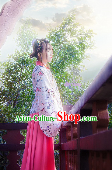 Ancient Chinese Han Fu Suits Top and Bottom Clothing Complete Set for Women or Girls