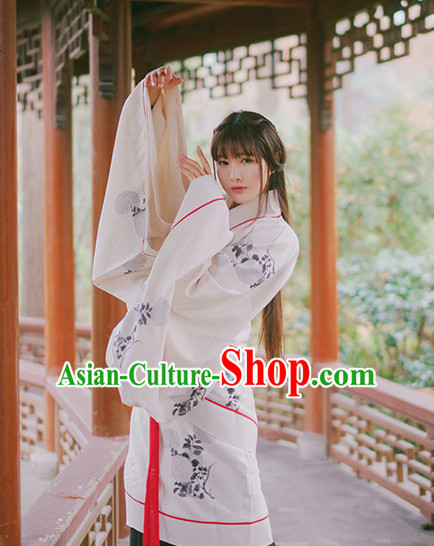 Ancient Chinese Han Dynasty Princess Clothes Top and Bottom Clothing Complete Set for Women or Girls