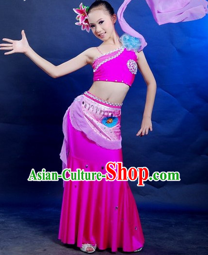 Chinese Folk Peacock Dance Costumes for Women or Kids