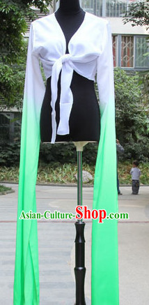 White to Green Chinese Classic Water Sleeve Dance Costumes for Women or Girls