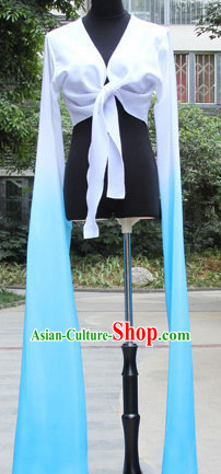 White to Blue Chinese Classic Water Sleeve Dance Costumes for Women or Girls
