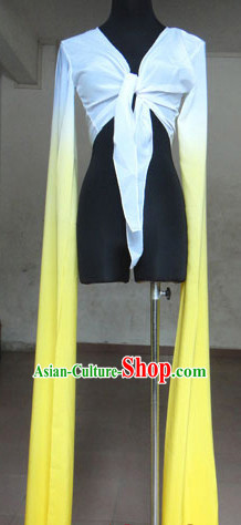 White to Yellow Chinese Classic Water Sleeve Dance Costumes for Women or Girls