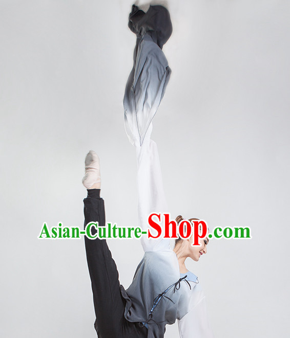 White to Black Color Transition 2 Meters Chinese Classical Water Sleeves Long Sleeves Dancing Costume for Women or Girls