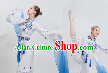 White to Blue Color Transition Chinese Classical Water Sleeves Long Sleeves Dancing Costume for Women or Girls