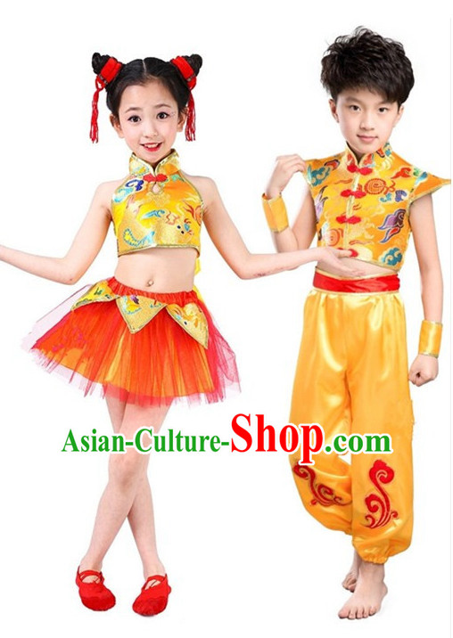 Chinese Folk Spring Festival Dancing Costume for Girls Kids Children