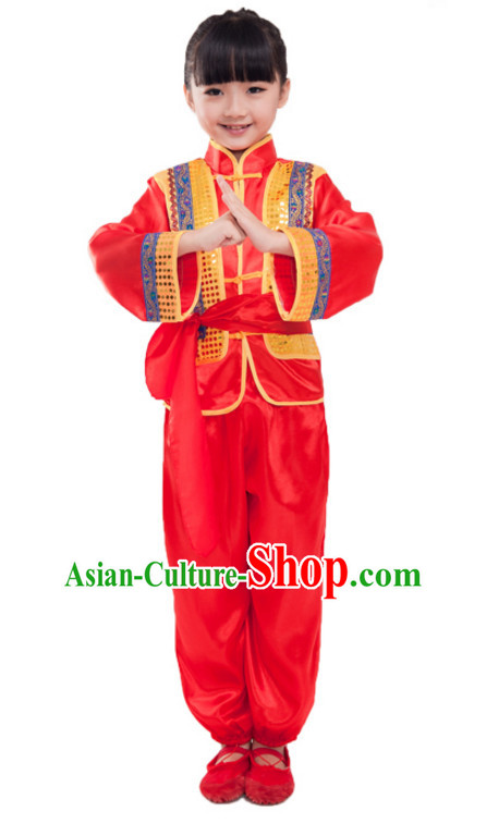 Chinese Folk New Year Dancing Costumes for Girls Kids Children