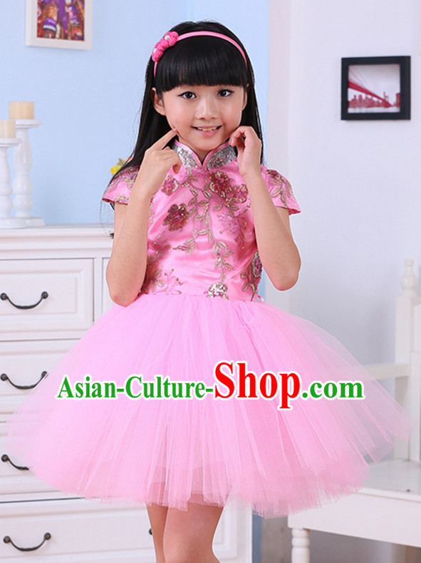 Chinese Traditional Lunar New Year Dance Skirts for Girls Kids Children