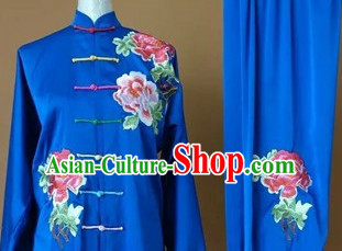 Blue Top Embroidered Mandarin Tai Chi Taiji Martial Arts Competition Uniforms Dresses Suits Outfits
