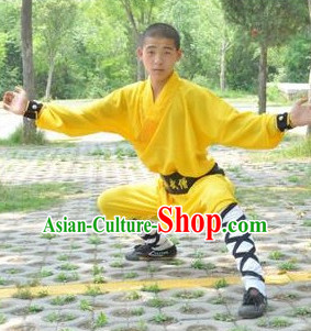 Yellow Chinese Folk Shaolin Monk Uniform