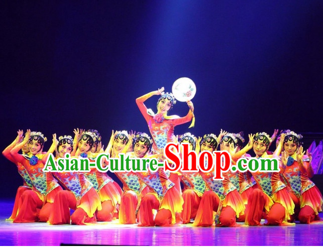 Chinese Folk Ethnic Han Dance Costumes and Headpieces for Women