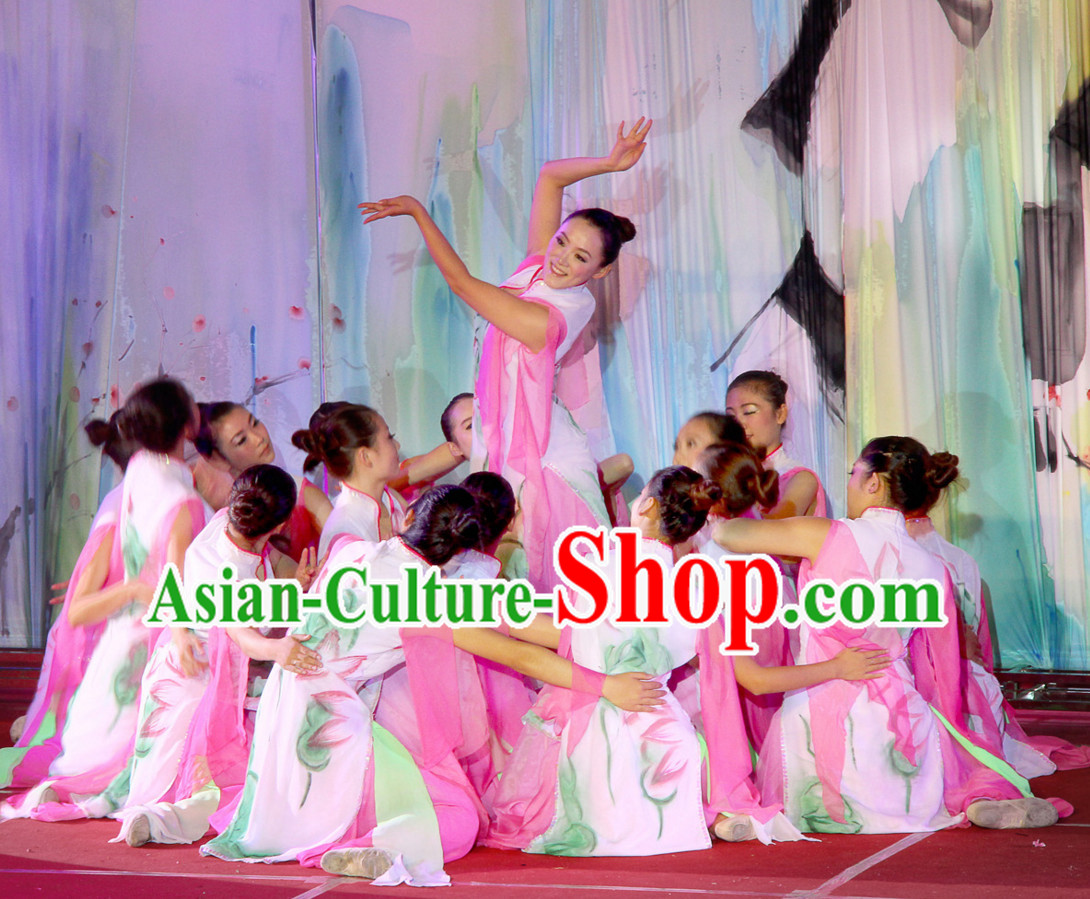 Chinese Folk Dance Costume and Headpieces for Women
