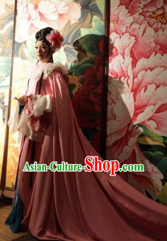 Ancient Chinese Empress Dresswear Costumes and Hair Jewelry Complete Set for Women Girls Adults KIds