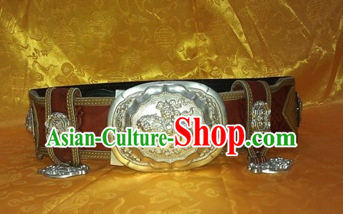 Traditional Chinese Mongolian Feather Belt for Men Boys
