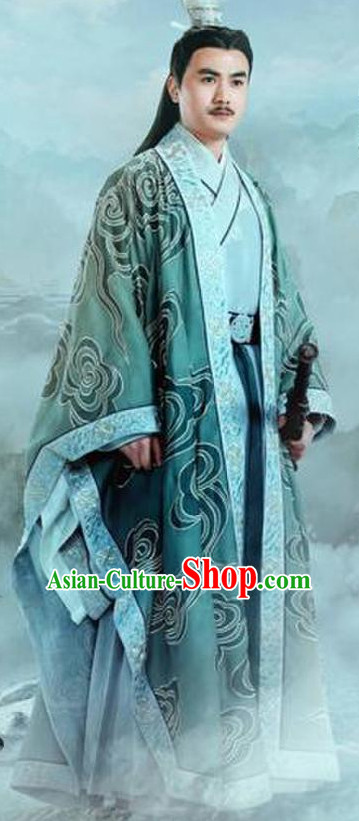 Ancient Chinese Swordsman Knight Clothing and Hair Jewelry Complete Set for Men