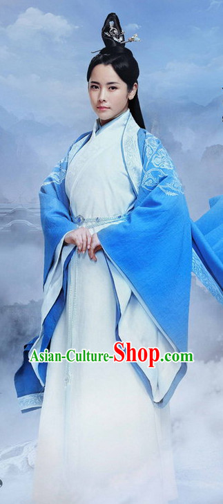 Ancient Chinese Female Knight Costumes and Hair Jewelry Complete Set for Women or Girls