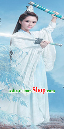 Ancient Chinese Fairy Knight Costumes and Hair Jewelry Complete Set for Women Girls