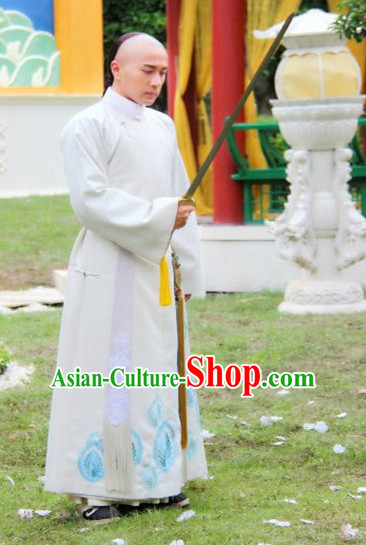 Qing Dynasty Manchu Long Robe Complete Set for Men Adults Kids Youth Children