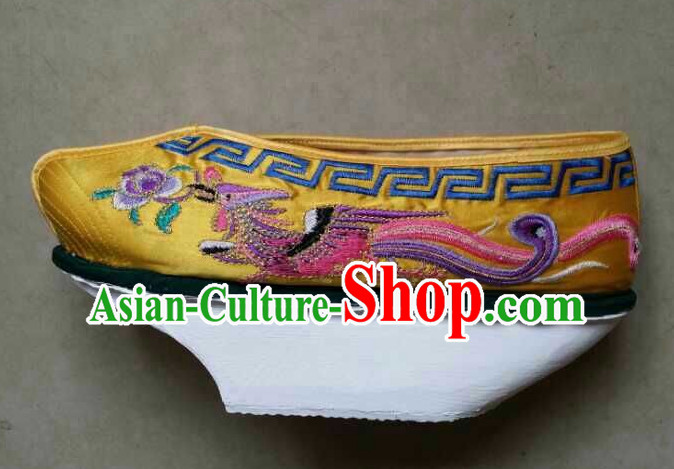 High Heel Handmade Ancient Traditional Chinese Empress Princess Queen Handmade and Embroidered Hanfu Lotus Shoes China Shoes for Women or Girls