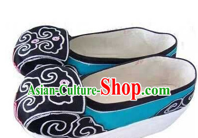 High Heel Handmade Ancient Traditional Chinese Male Handmade and Embroidered Hanfu Lotus Shoes China Shoes for Men or Boys
