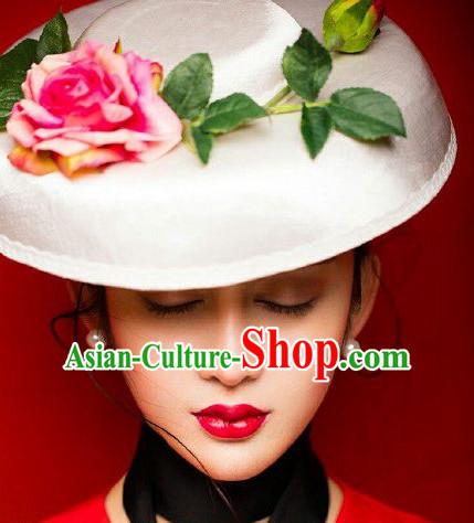 Top Imperial Royal Handmade Flower Decorations Hat for Ladies
