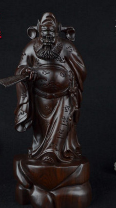 16 Inches High Chinese Classical Hands Carved Wooden Sculptures of Zhong Kui