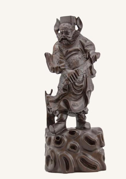 0.46 Meter Chinese Classical Hands Carved Wooden Sculptures of Zhong Kui