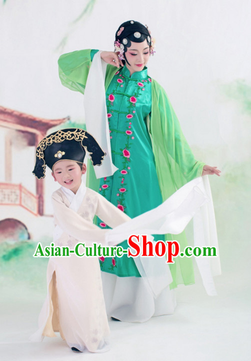 Chinese Ancient Long Sleeves Young Scholar Costumes and Hat Complete Set for Kids