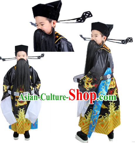 Chinese Ancient Judge Bao Gong Costumes and Hat Complete Set for Boys Kids Children