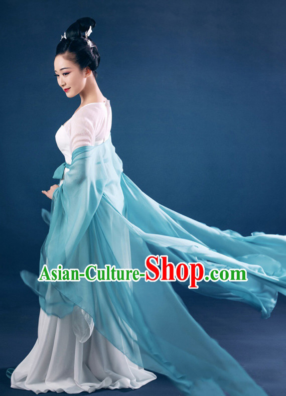 Chinese Ancient Classical Tang Dynasty Costumes and Hair Accessories Complete Set for Women