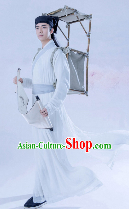Chinese Ancient Young Men Costume and Hat Complete Set for Men