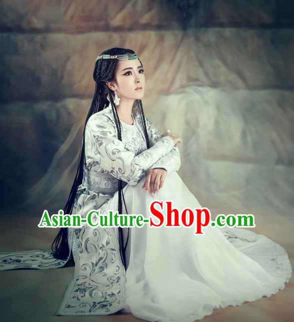 Chinese Ancient Swordswoman Costumes and Hair Jewelry Complete Set for Women