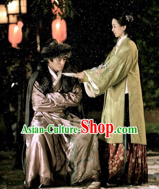 Chinese Ancient Ming Dynasty Noblewoman Clothing and Hair Jewelry Complete Set for Women