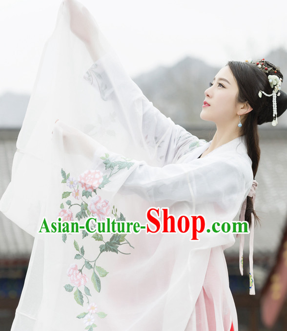Chinese Ancient Tang Dynasty Empress Embroidered Clothing and Hair Jewelry Complete Set for Women