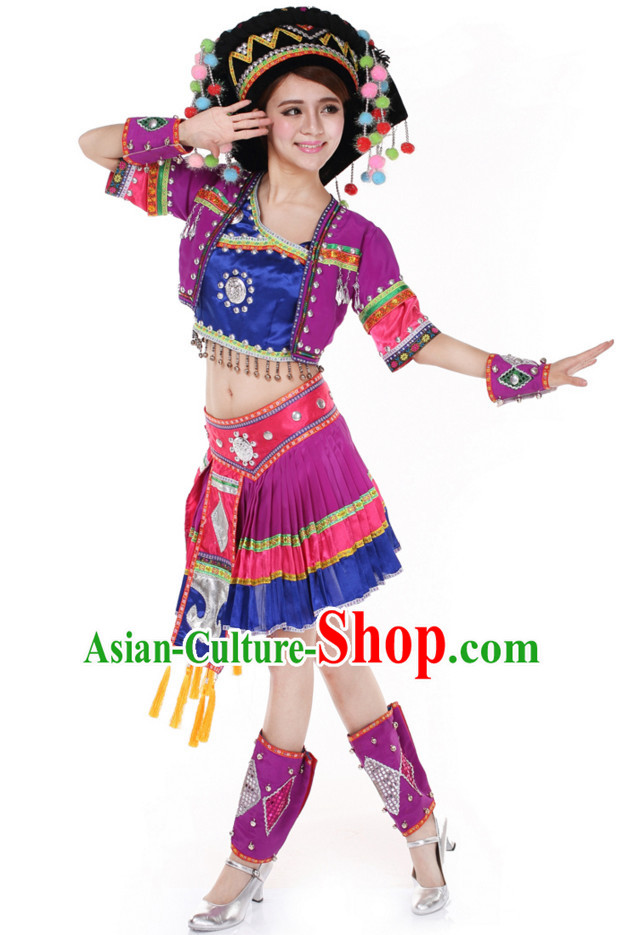 Chinese Traditional Ethnic Group Dancing Costumes and Headdress Complete Set for Women