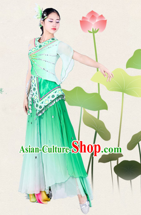 Chinese Traditional Classical Lotus Dance Costumes Dancewear and Headpieces Complete Set for Women