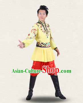 Chinese Traditional Folk Ethnic Dance Costumes Dancewear and Headpieces Complete Set for Men