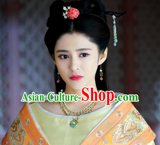 Ancient Chinese Princess Black Wig Wigs and Hair Jewelry