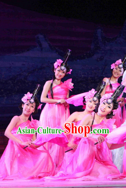Chinese Peach Blossom Dance Costumes and Headpieces Complete Set for Women