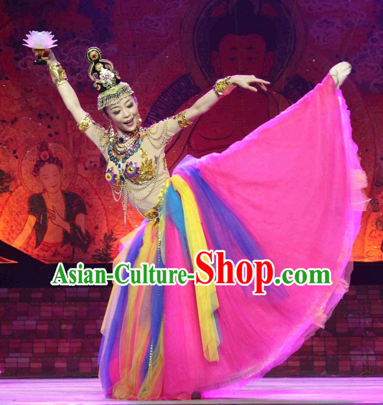 Chinese Fairy Classical Dancing Costumes and Headpieces Complete Set for Women