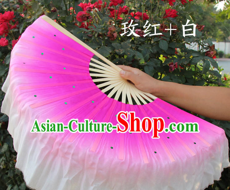 Color Transition Traditional Chinese Pure Silk Dance Fan